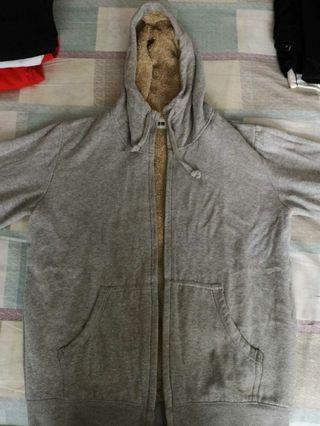 Uniqlo faux wool jacket grey