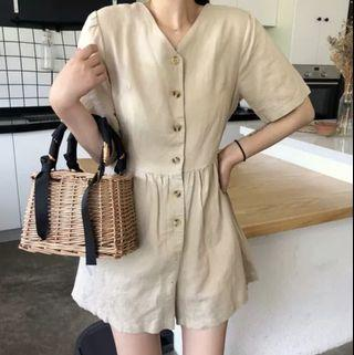 Korean new fashion ulzzang new chic retro vintage temperament summer autumn spring winter student college wind simple basic design v neck collar buckle single breasted row buckle button down  short sleeve 2019 jumpsuit