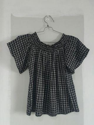 Sabrina Top Black & White Atasan Baju
