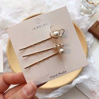 Korean pearl hairpins - double hearts