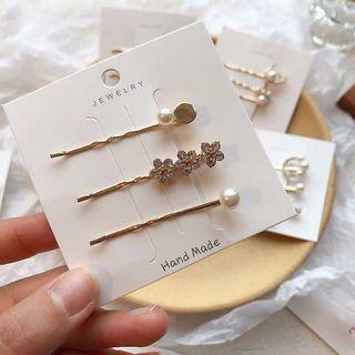 Korean pearl hairpins - triple flowers