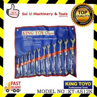 KING TOYO KT-AS12K Extra Long Twist Combination Wrench Set 12Pcs