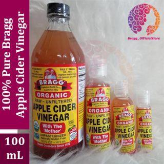 PURE Bragg Apple Cider Vinegar 100 ML - Cuka Apel Merek Bragg - Bragg Pure Murni - Untuk Kesehatan Badan & Kulit