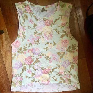 H&M Conscious Collection Mint Floral Studded Muscle Tank