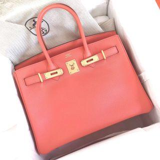 51e4d969707 Like New Hermes Birkin 30 Flamingo Epsom Ghw Q stamp