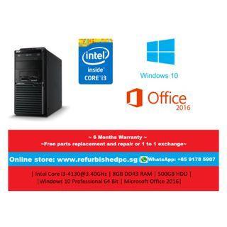 [Refurbished] Acer M2631 Mini Tower | Intel Core i3-4130 @ 3.40GHz | 8GB DDR3 | 500GB HDD | WIndows 10 Professional 64 Bit | Microsoft Office 2016 | 6 Months Warranty |
