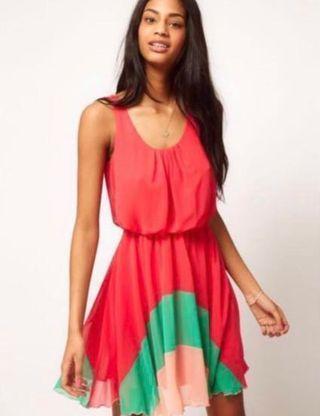 Love Color Block Hem Dress #apr75