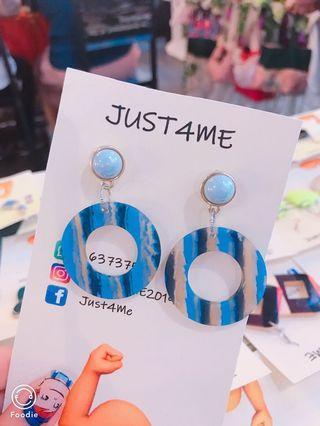 日系藍色圈圈耳環