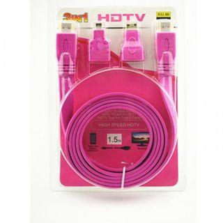 3 in 1 HDTV HDMI Cable 1.5m Flat Cable Pink Color (New)