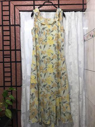 🚚 Vintage kuda 專櫃品牌 90年代 荷葉邊 花卉 背心洋裝 連身長裙