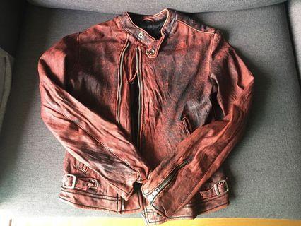 Red leather jacket 紅色洗水皮褸