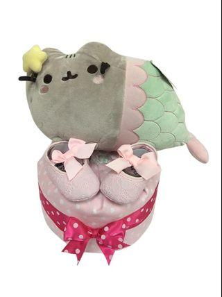 1 Tier Girl Pusheen Mermaid Diaper Cake Baby Gift  🐱🧜‍♀️