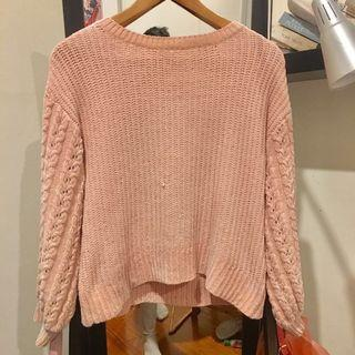 Pink Balloon Sleeve Knit Jumper