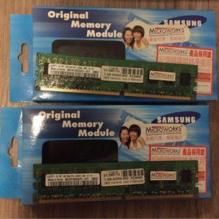 Samsung DDR2 800 PC6400 1G 兩條 Desktop RAM