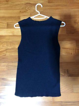 🚚 Navy Blue Ribbed Top