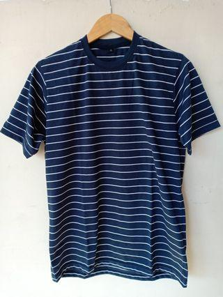 Kaos Stripe Navy list Putih