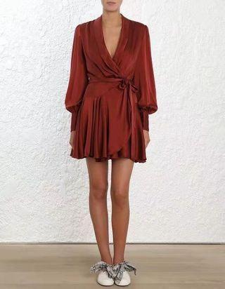 Zimmerman 100% silk wrap dress (cut-label)