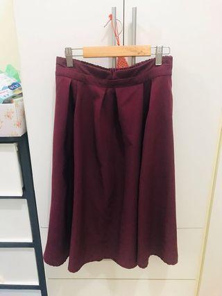 🚚 酒紅傘狀 中長裙 #半價衣服拍賣會