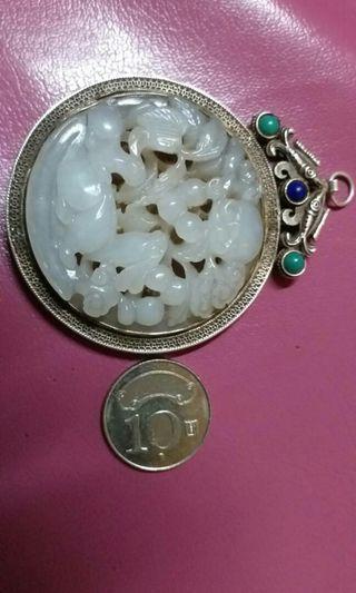 🚚 老銀掛件  和闐白玉籽料 價私