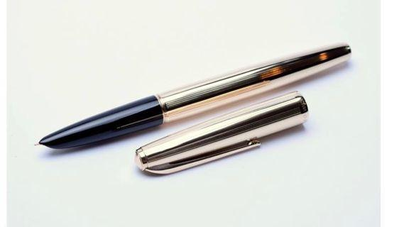 China's Best Pen HERO 100 英雄 Oversize (Parker 51) Rolled Gold 12K 1/10 EF Nib Fountain Pen In Box