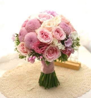 Roses and Pom Poms Bouquet