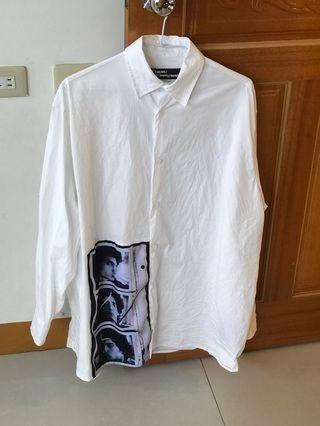 RAF simons 襯衫 人像 白色 衣服 上衣 短袖
