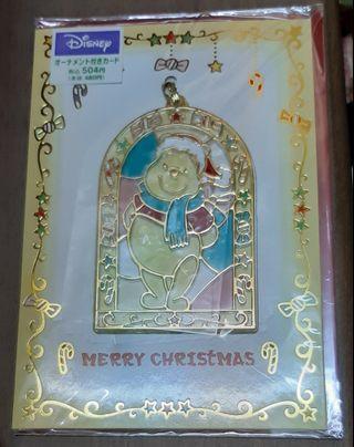 日本小熊維尼聖誕卡附立体膠牌