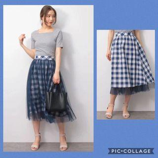 2way skirt 日系💕雙面💕網紗格仔傘裙 Japan fashion two way tulle lace check pattern skirt flare skirt aline skirt check skirt