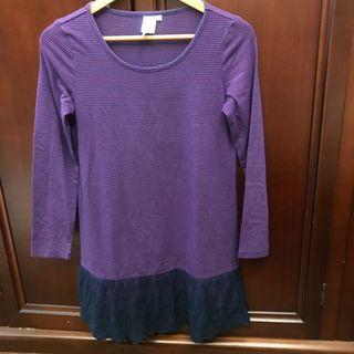 🚚 Beartwo 紫色條紋洋裝 #半價衣服拍賣會