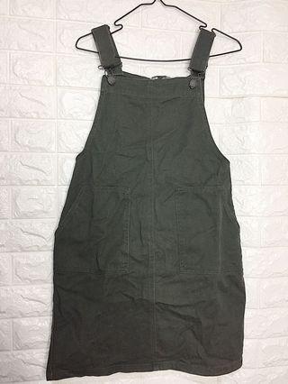 Green Denim Jumpsuit Skirt
