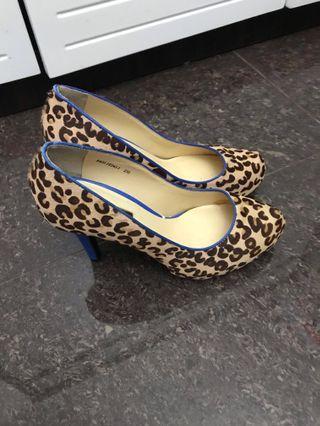 全新 Belle 豹紋 leopard 馬毛 高跟鞋 high heel shoes