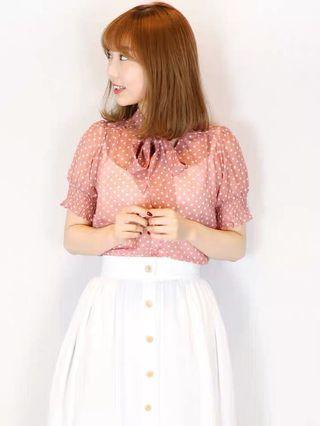 2⃣️色日系💥Daz💥綁帶泡泡袖雪紡上衣 Japan fashion polka dot puff sleeve chiffon top blouse