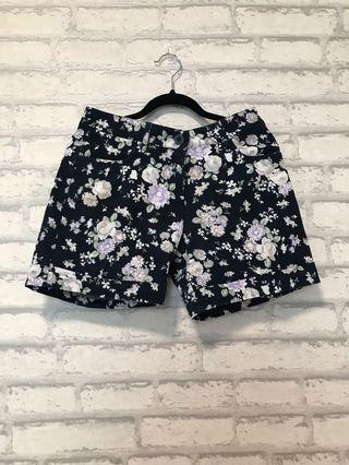 Black Floral Shorts