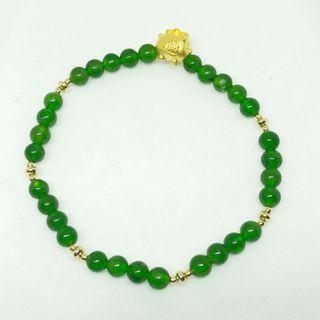Pure Gold Good Luck Piglet with money ingots . Combined w emerald green translucent high quality Dioptase crystal beads bracelet.