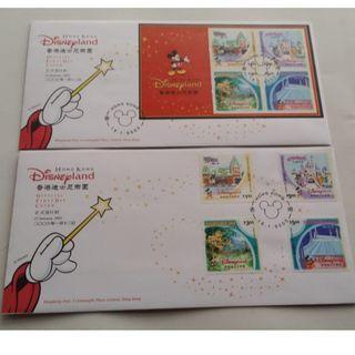 2003年 香港迪士尼樂園郵票及小全張首日封 (全套兩個)