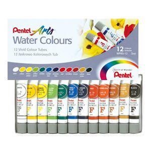 Pentel Watercolour Paint Tube (12 Colours)
