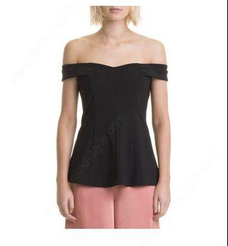 Country road black off shoulder top size 8(XS) RRP $99.95