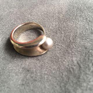 天然珍珠純銀戒指