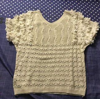 韓組秋款針織花朵袖子造型短袖上衣