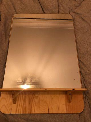 WOODEN WALL MIRROR WITH SMALL SHELF