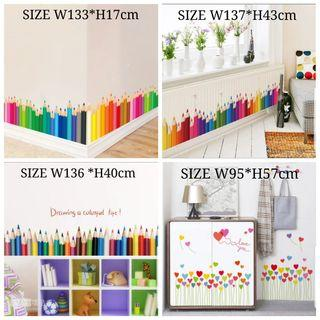 💥40 Designs . $10 Each Butterfly green grass flowers fence wall stickers skirting line entrance corridor decoration wall stickers