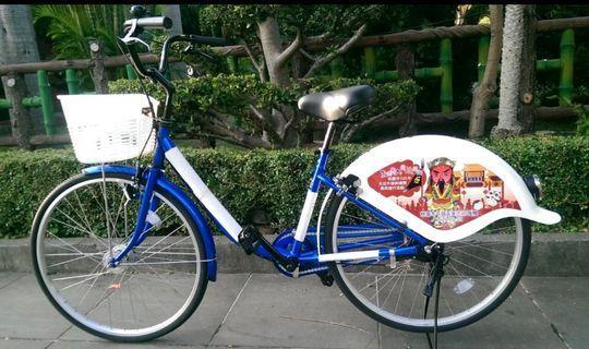 全新品-KHS功學社紀念款藍白26吋腳踏車(附車鈴、動力前後車燈、前籃、車鎖、專屬車號)可約面交