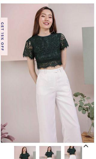 The Tinsel Rack TTR Pam Lace Top (Forest Green)
