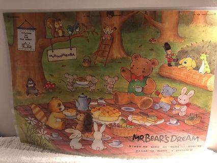 Sanrio vintage mr bear bear's dream 已過膠A3 草苺雜誌poster