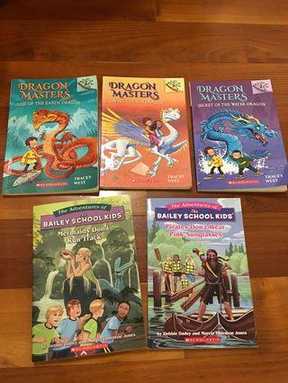 Dragon Master Set of 3 and The Bailey School Kids 2 Books