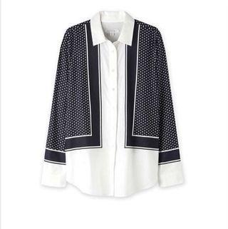 Trenery Cotton Modal Scarf Print Blouse/ shirt size 8-10 RRP $150