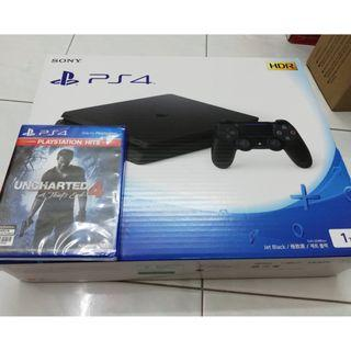 PS4 Slim 1TB (New, Jet Black) with Free New Game (Uncharted 4) #EST50