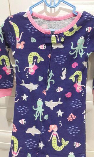 Preloved carter sleepsuit baju tidur bayi mermaid carters tutup kaki