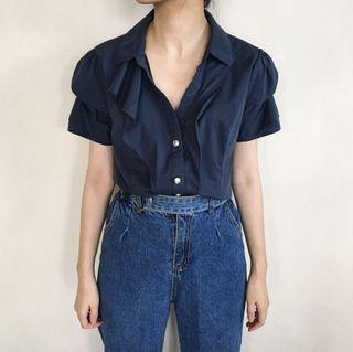 Navy Vintage Ruffle Shirt