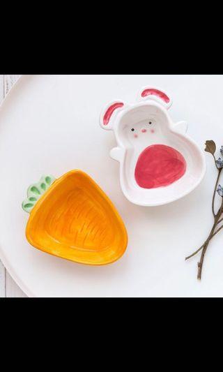 Ceramic bunny & carrot bowl